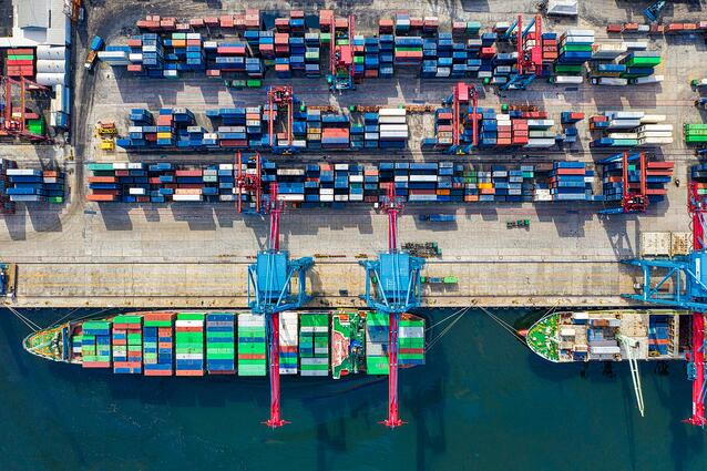 bird-eye view of freight containers