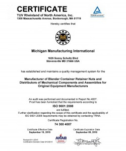 Michigan Manufacturing International Headquarters Receives ISO 9001:2008 Certification