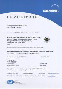 Michigan Manufacturing International Receives ISO 9001:2008 Certification for India Manufacturing Facility